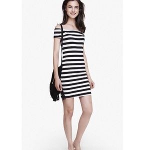 NWT Express striped off the shoulder bodycon dress